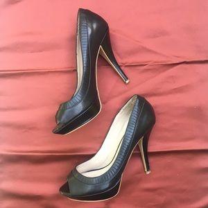 ZARA Black HEELS Open Toe SHOES Size 9